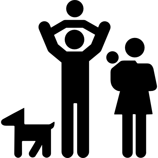 family-group-of-father-and-mother-with-two-babies-and-a-dog